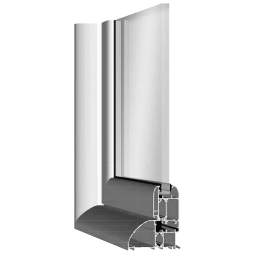 Imagen de una muestra de puerta con cristal de aluminio modelo Practicable Smart diseñada para viviendas particulares